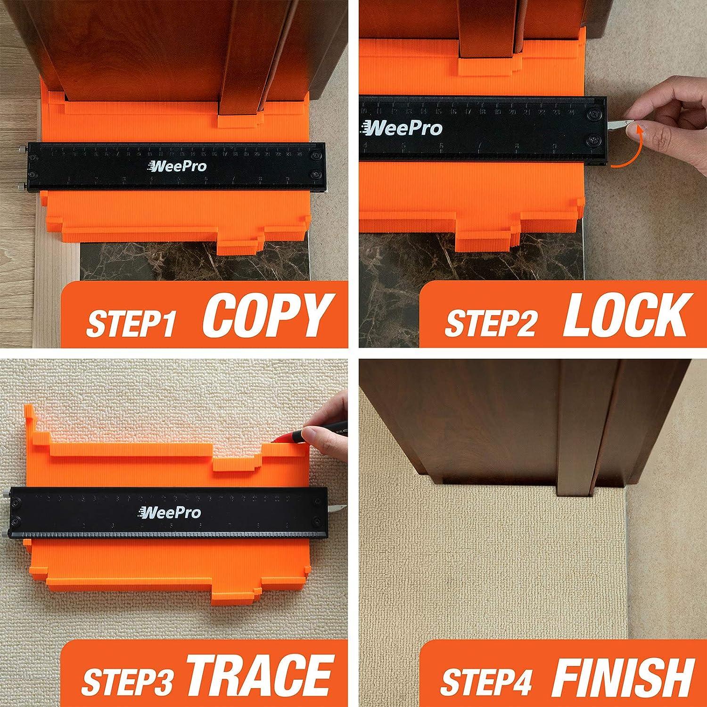 Shape Duplication Profile Tool Measuring for Carpenters 【UPGRARED ADJUSTABLE TIGHTENING SCREW】 WeePro Contour Gauge With Lock Widen Contour Gauge Duplicator Tools 5 Inch Handyman Woodworking