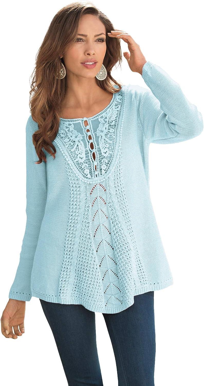 Roamans Women's Plus Size Lace Yoke Pullover Sweater