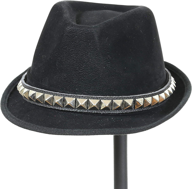 Studded Leather Band Black Felt Top Fedora Dress Party Slash Rocker Style Hat Costume Cosplay