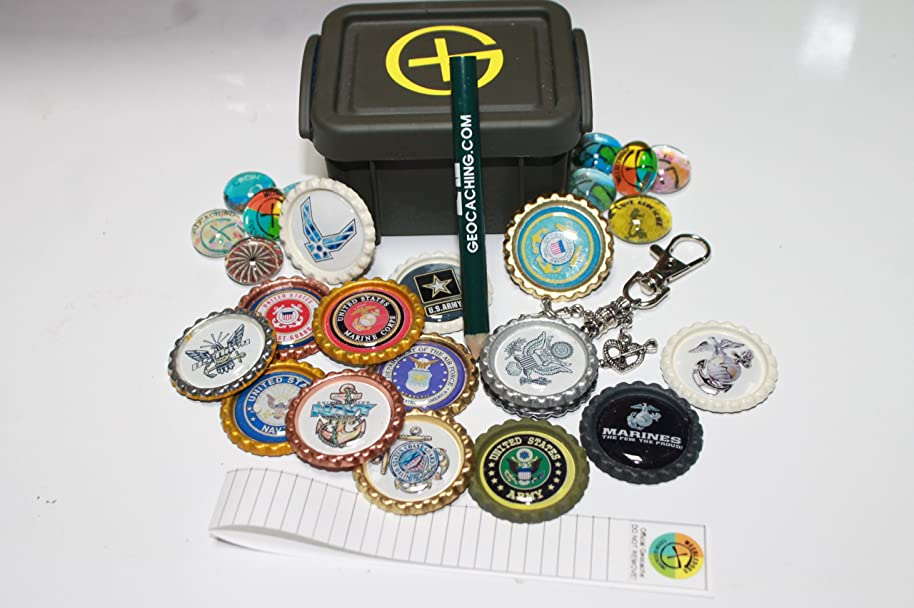 Military Tribute Geocaching Container Set Plus Swag Items