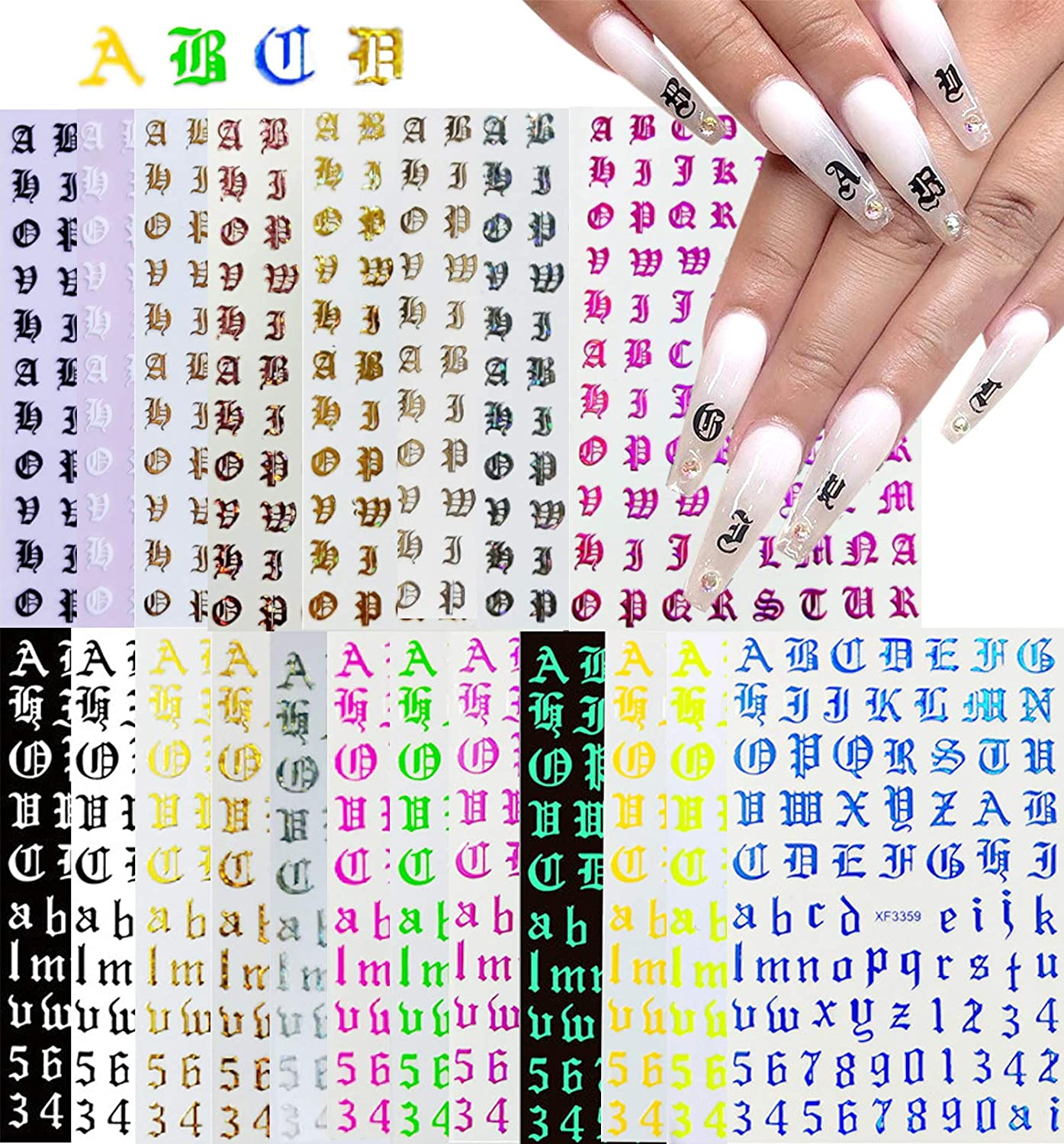 20 Sheets Old English Letter Stickers Albuquerque Cash special price Mall Nail Holographic Alphabet