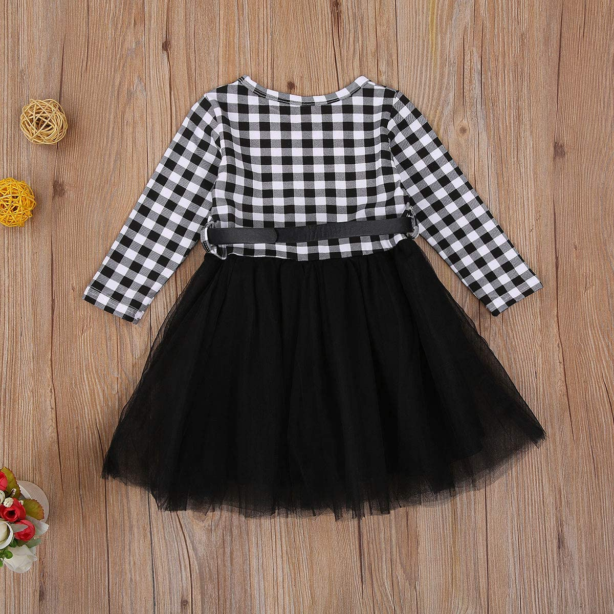 Toddler Baby Girl Christmas Outfit Long Sleeve Plaid T-Shirt Top Tulle Tutu Skirt 2Pcs Fall Winter Clothes Set