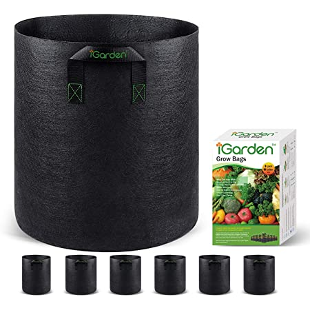 Grow Bags, 10 Gallon Grow Smart Pots 6 Pack with Handles, Heavy Duty 320G Thickened Nonwoven Fabric Plant Bag for Vegetables