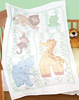 Jack Dempsey Needle Art 406090 Crib Quilt, Top Jungle Fun, 40-Inch by 60-Inch, White
