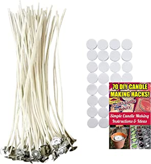 Cozyours 8 Inch Candle Wicks with Wick Stickers (50/50-Pack) for Candle Making, Pre-Waxed and Pretabbed
