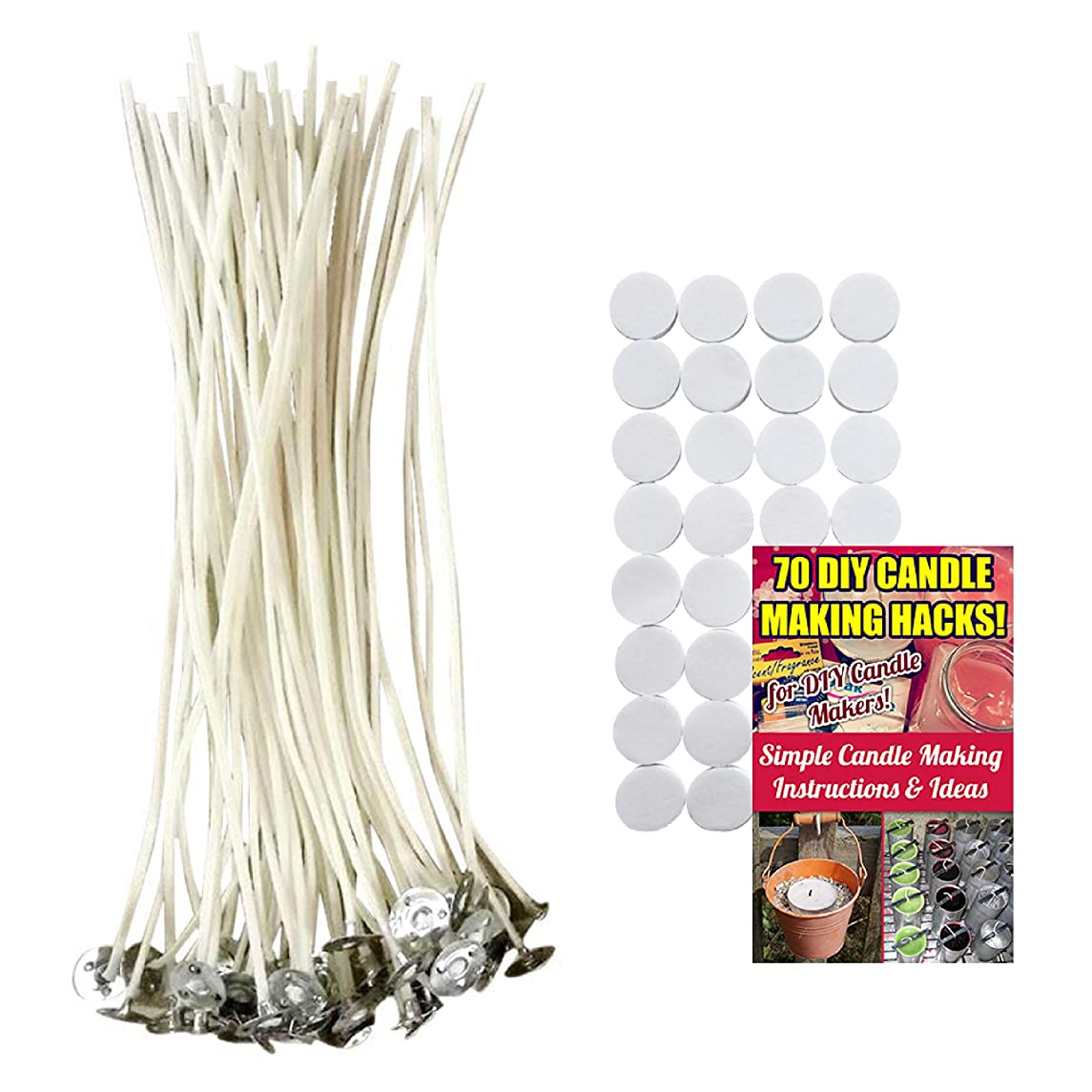 Cozyours 8 inch Candle Wicks with Candle Wick Stickers, 50 PCS, Low Smoke&Natural, Candle Wicks for Candle Making.Candle DIY Hacks E-Book Included!
