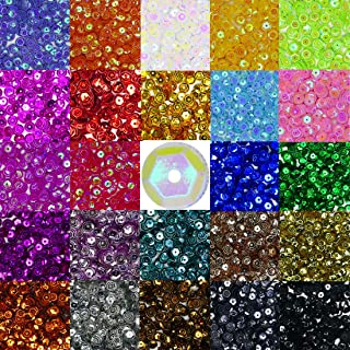 Bulk Loose Sequins, 7200 Pcs Assorted 24 Colors Round Craft Sequins Cup Embroidery Sequins with Holes for Sewing and DIY,6MM