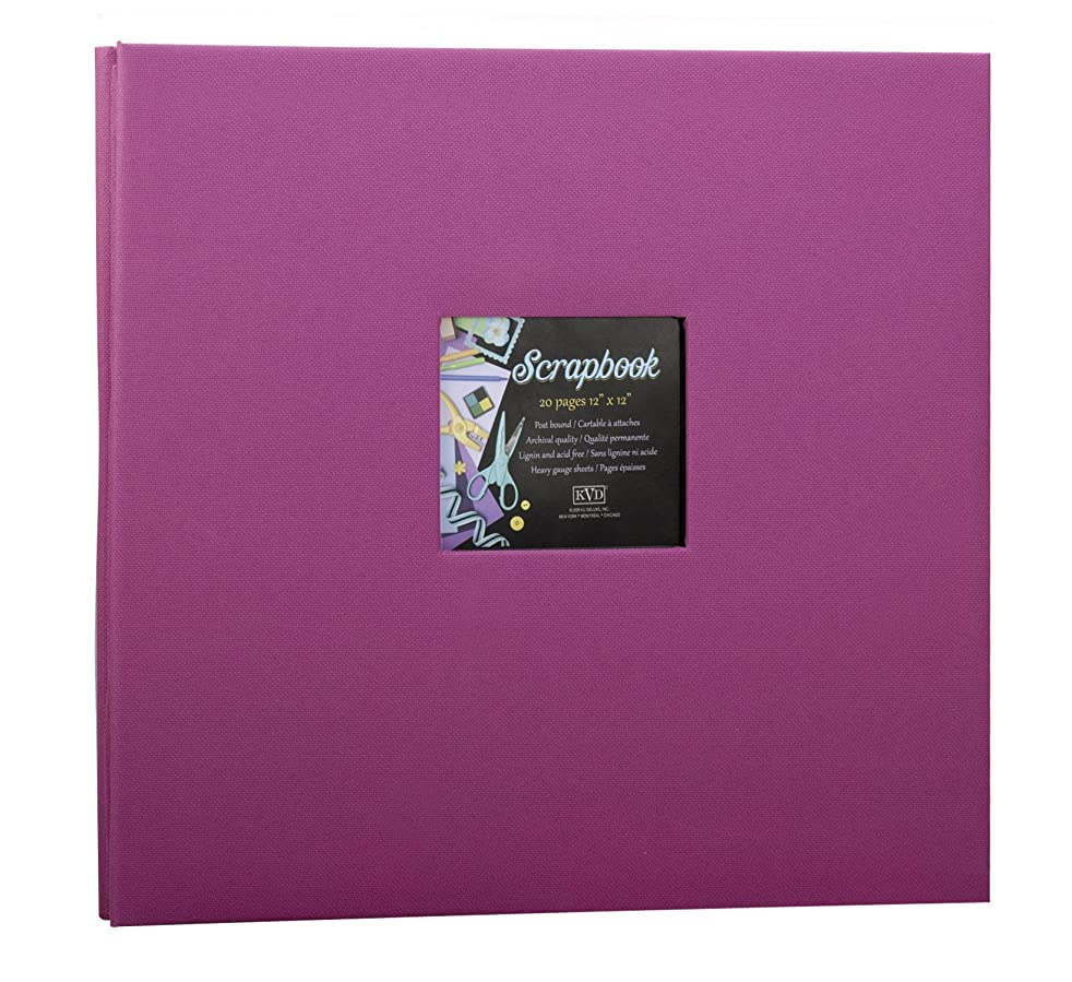 Scrapbook 12x12 Album decorative Fabric DIY, Holds 20 Pages, Window Frame cover Postbound
