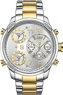 ساعة جي 4 الفاخرة للرجال من جيه بي دبليو مرصعة بـ16 قطعة الماس ومتعددة المناطق الزمنية
