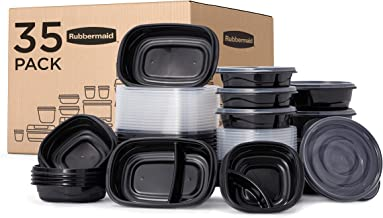 Rubbermaid TakeAlongs Food Storage Single Base, Set of 35 (70 Pieces Total) | Meal Prep Containers, Lunch for Adults & Kid...