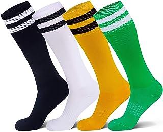 Raigoo Kids Soccer Socks, Kneel High Classic Stripe Tube Socks for School Team Youth Boys & Girls (4-11 Years Old)