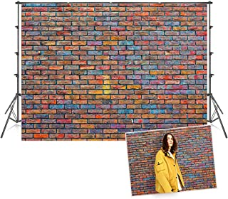 7x5 ft Seamless Microfiber Colorful Graffiti Brick Wall Photography Backdrops 1950's Vintage Photo Booth Prop Background for Picture