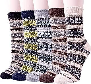 5 Pairs Womens Knit Warm Casual Wool Crew Winter Socks