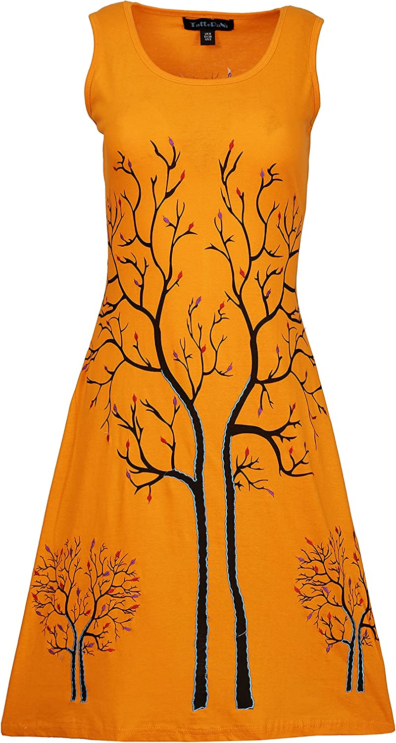 Women's Summer Sleeveless Evening Dress With Tree Embroidery