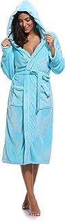 Women's Plush Fleece Hooded Robe Ultra-Soft Long Bathrobe