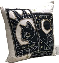 India Incredible White Sun Moon Cat 16 x 16 Fully Handcrafted Halloween Cushion Cover with Hidden Zipper and 100% Polyester Filler