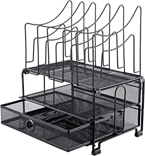 EasyPAG Mesh Desk Organizer Stacking Double Trays with Sliding Drawer 5 Upright Sections Holder,Black