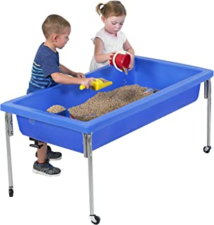 """Children's Factory Extra Large Activity Table and Lid Set, 50"""" by 26"""" by 24"""", Blue – Fill with Water, Sand, Beads and More – Lid for Safe, Clean Storage – Made of Durable Plastic – Indoor/Outdoor Use"""