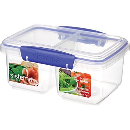 Amazon Com Sistema Klip It Rectangular Collection Split Food Storage Container Medium 33 8 Oz 1 0 L Clear Blue Food Savers