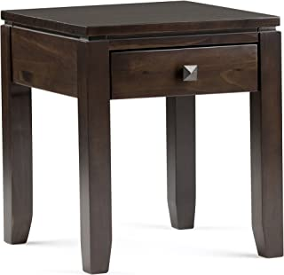 Simpli Home Cosmopolitan Solid Wood 18 inch Wide Square Contemporary End Side Table in Coffee Brown