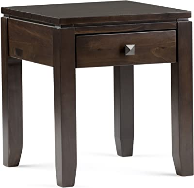 Simpli Home Cosmopolitan SOLID WOOD 18 inch wide Square Contemporary End Side Table in Coffee Brown with Storage, 1 Drawer, for the Living Room and Bedroom