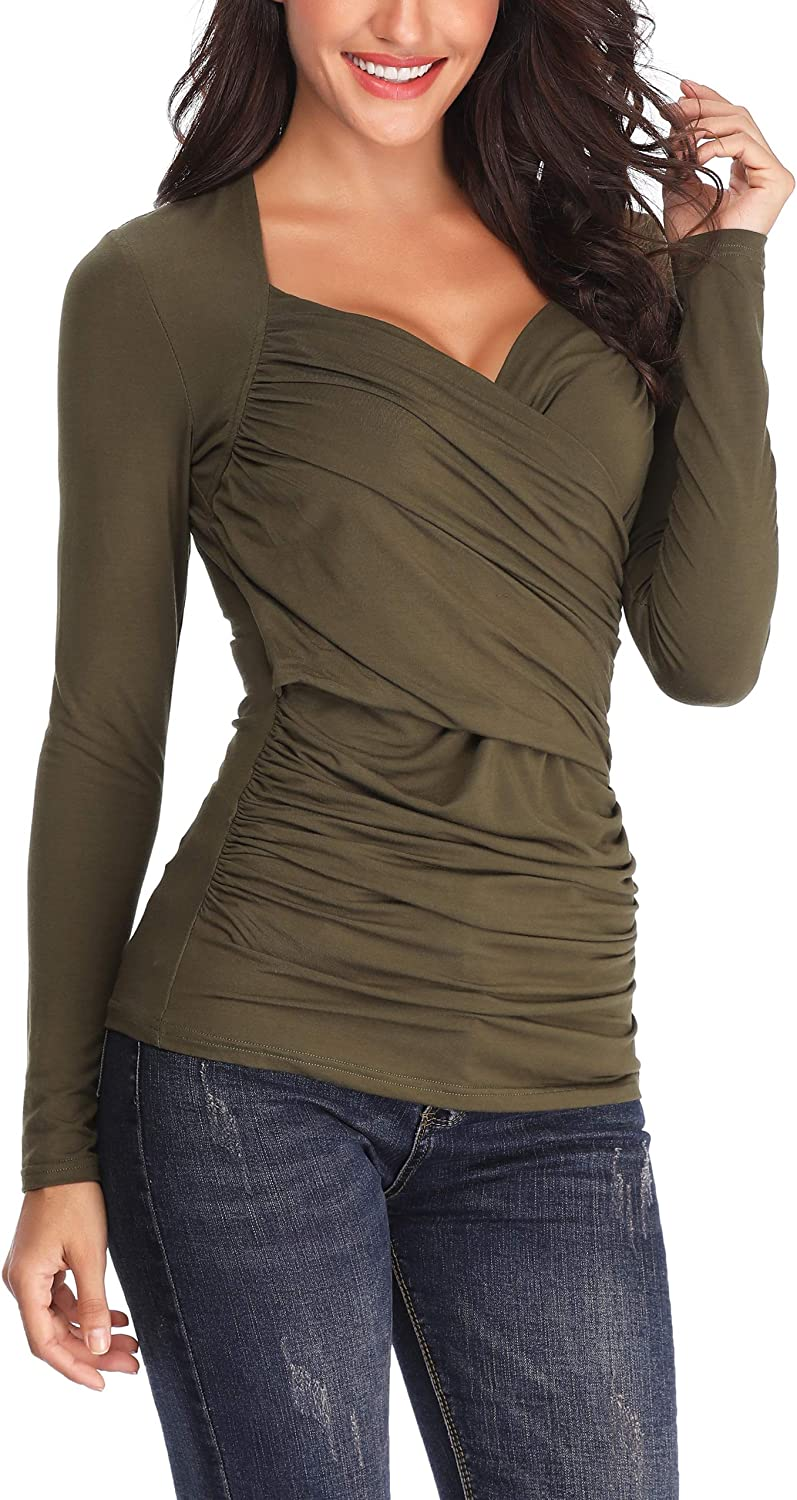 Anienaya Women's Long Sleeve V Neck CrossFront Ruched Double Layers Blouse Tops Shirts