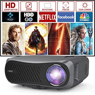 1080P Full HD Projector 2020 Digital High Resolution LCD LED Home Theater Projectors 1920x1080 Native Ceiling Zoom Keyston...