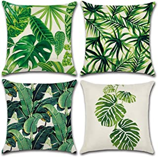 MIULEE Pack of 4 Tropical Leaves Series Throw Pillow Cover Decorative Cotton Linen Burlap Square Cushion Cover Pillow Case for Car Sofa Bed Couch 18 x 18 Inch