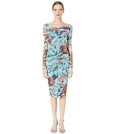 FUZZI Botanical Floral Tulle Print Off the Shoulder Pencil Dress (Limpido) Women