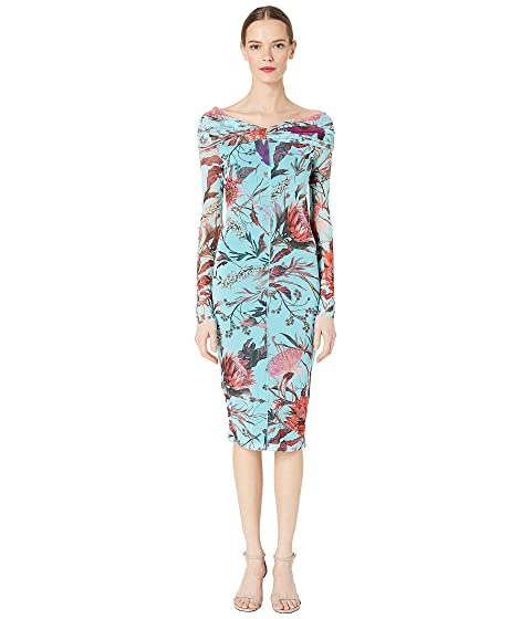 FUZZI Botanical Floral Tulle Print Off the Shoulder Pencil Dress