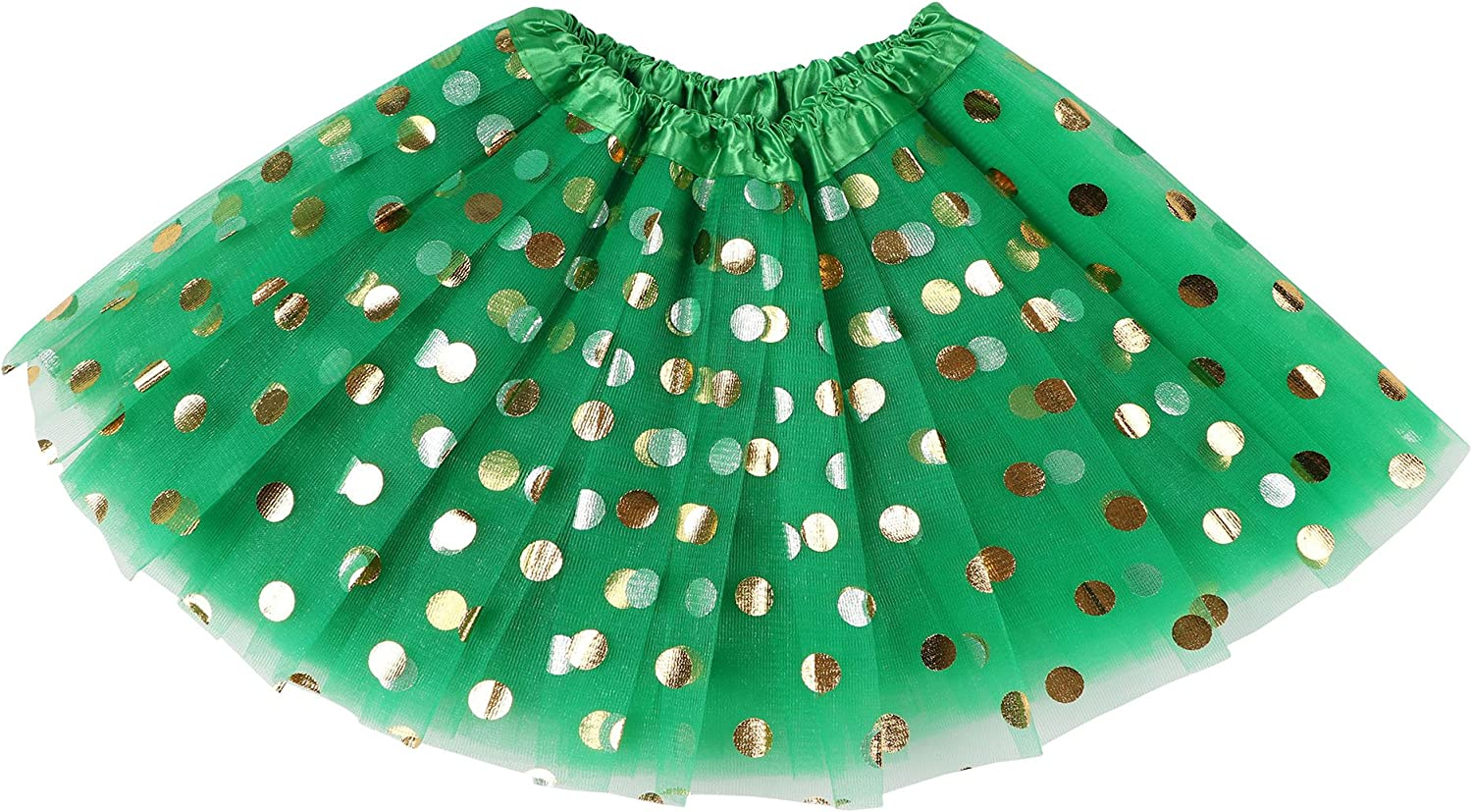 Simplicity Toddler and Girls 4 Layered Pull-On Tulle Tutu Skirt with Polka-Dot Foil Designs