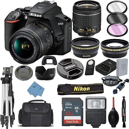 $479 Get Nikon D3500 Digital SLR Camera & 18-55mm VR DX AF-P Lens with 32GB Card + Case + Tripod + 2 Lens Kit+ Ultimate Deals Accessory Bundle