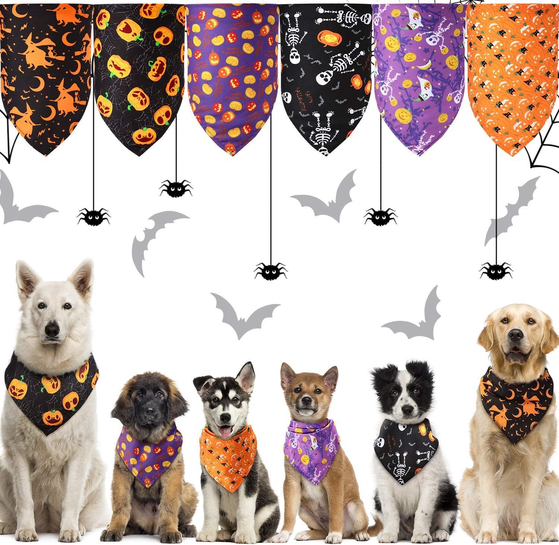 6 Popular standard Pieces free Halloween Dog BandanasPumpkin Spider Ghost Skeleton