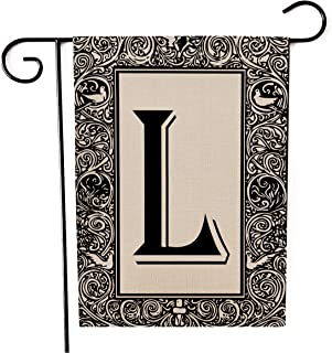 Kissenday Monogram Linen Garden Flag, 12.5x18 Inch Vertical Double Sided, Last Name Initial Letter L Banner Flag Yard Outd...