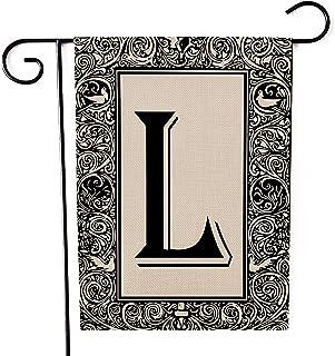 Kissenday Monogram Linen Garden Flag ، 12.5x18 بوصة عمودي مزدوج الجوانب، الاسم الأخير الحرف الأول L لافتة علم ساحة الديكور...