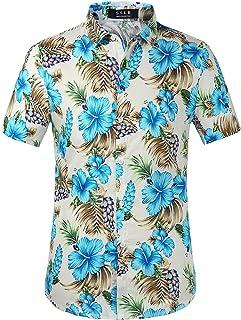 SSLR Camisa Hawaiana Colorida de Manga Corta de Flores de