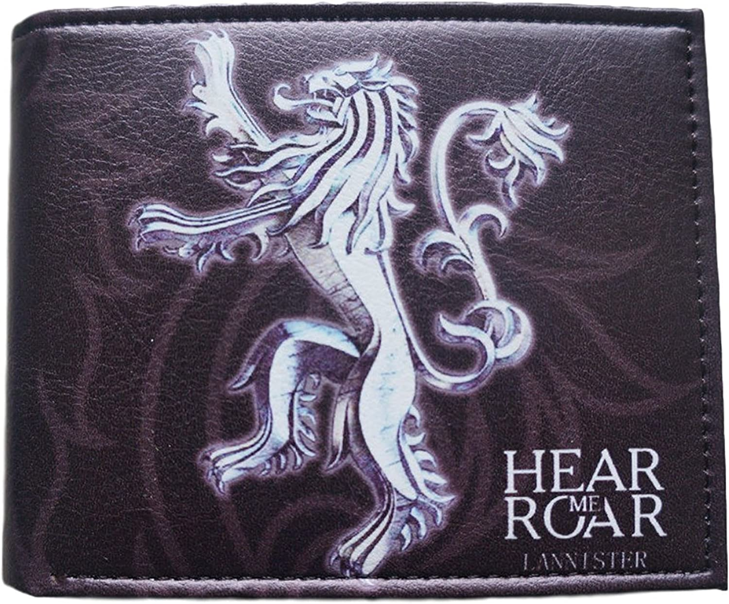 Game of Thrones House of Lannister Lion Sygil Hear Me Roar TV Show Themed Look of Leather Bi-Fold Wallet (with Gift Box) B0195T85Y4
