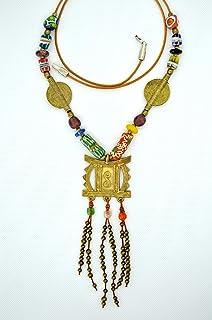 Collar étnico tribal para mujer con colgante africano y cuentas de cristal