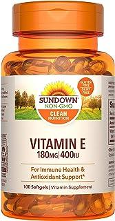 Sundown Vitamin E for Immune Support, Gluten-Free, Dairy-Free, Non-GMO, 180mg 400IU Softgels, 100 Count, 3 Month Supply