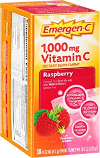 Emergen-C (30 Count, Raspberry Flavor, 1 Month Supply) Dietary Supplement Fizzy Drink Mix with 1000mg Vitamin C, 0.32 Ounc...