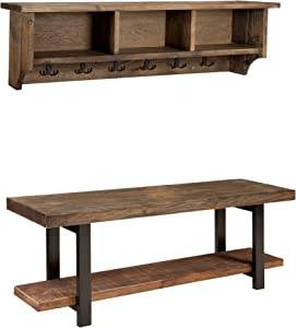 """Sonoma 48"""" Reclaimed Wood and Metal Wall Mounted Coat Hook with Storage Cubbies and Bench Set, Natural"""
