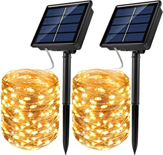 JosMega Upgraded Solar Powered String Fairy Lights 2 Pack 33 ft 100 LED 8 Modes Waterproof IP65 Twinkle Lighting Indoor Outdoor Fairy Firefly Lights Auto ON/Off (2 Pack 33 ft 100 LED, Warm White)