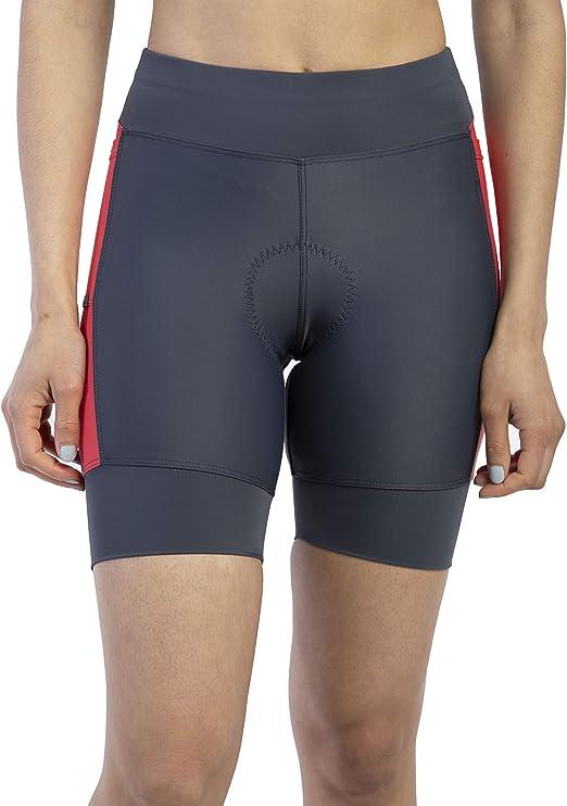 MooMotion Womens Triathlon Shorts - Soft Padded Quick Dry Chamois - Side Pockets - Swim/Bike/Run - Made in The USA X-Small Aquamarine/Navy
