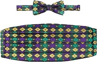 Mardi Gras Metallic Harlequin Print Cummberbund and Bow Tie Set
