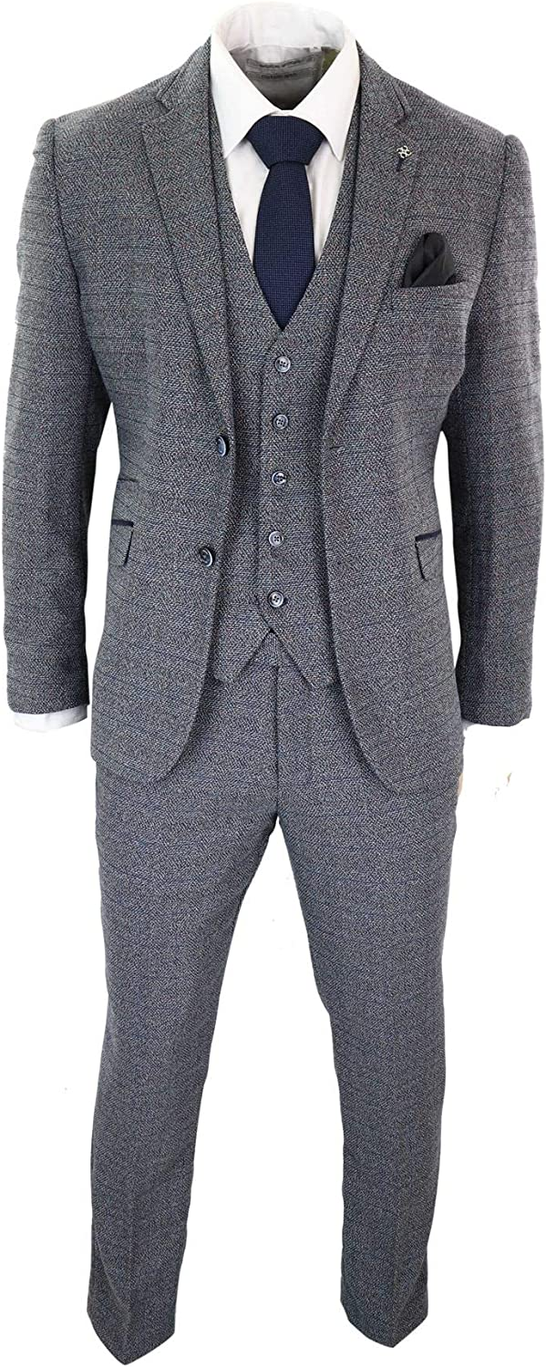 Mens Tweed Check Smart 3 Piece Suit Vintage Retro Classic Tailored Fit Grey Navy