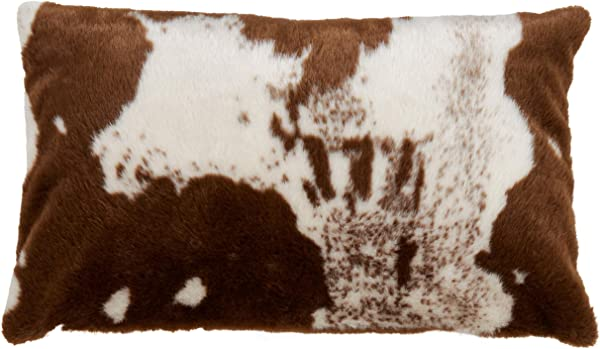 SARO LIFESTYLE Lait Collection Urban Faux Cowhide Pillow Cover 14 X 22 C Brown