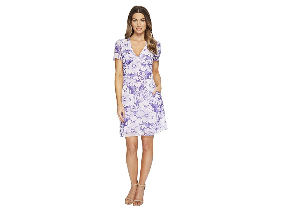 MICHAEL Michael Kors Spring Floral V Dress (Amethyst/Light Quartz Multi) Women