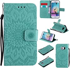Galaxy S6 Edge Case,Embossed PU Leather Wallet Cover Shock Proof Kickstand Cover with Inner Soft Bumper TPU Cover Credit Card Holder with Wrist Strap for Samsung Galaxy S6 Edge -Sunflower Green