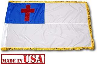 US Flag Factory - 3x5 FT Christian Flag (Sewn Cross) (Pole Sleeve, Gold Fringe) for Indoor Presentation Set - American Made - SolarMax Nylon - Premium Quality