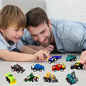 Pull Back Car, 20 Pcs Assorted Mini Truck Toy and Race Car Toy Kit Set, Funcorn Toys Play Construction Vehicle Playse...